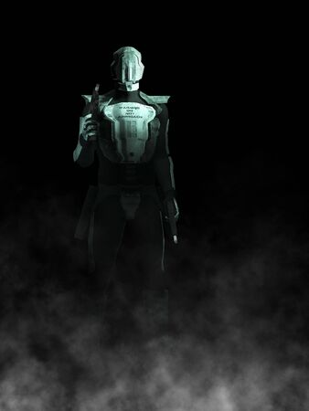 A futuristic police or robot holding a gun in each of its hands. Black background with fog coming from the ground.  photo