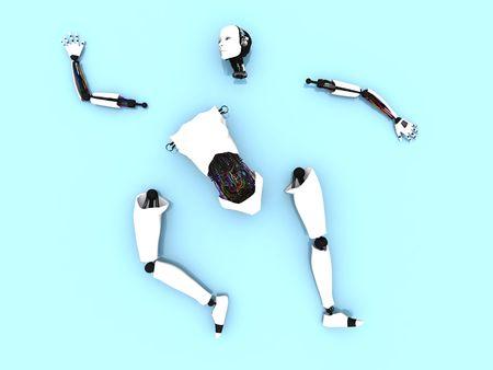 floor machine: Partes del cuerpo de un robot femenino acostado difundi� en el piso.
