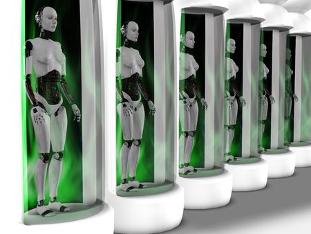 cybernetics: Several female robots standing in sleeping chambers. All of them have closed eyes as if they are sleeping or are powered off. Stock Photo