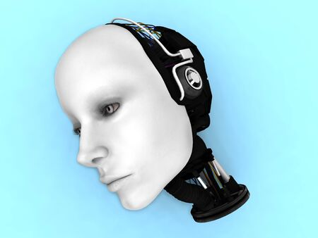 The head of a female robot lying on the floor. Stock Photo - 6662454