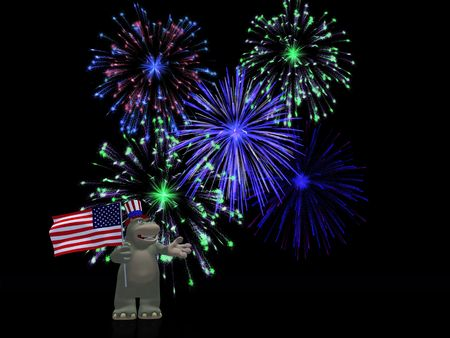 humorous: A friendly cartoon hippo wearing a hat and holding the American flag, celebrating  Independence day on the 4th of July with fireworks. Black background.