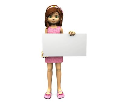child holding sign: A cute cartoon girl in pink dress holding a blank sign in her hands. White background.