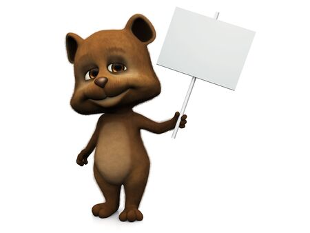 A furry cute bear with a big smile holding a blank sign in its hand. White background. photo