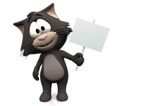 gato caricatura: Un sonriente, peludo lindo gato con un signo en blanco en su mano. Fondo blanco.
