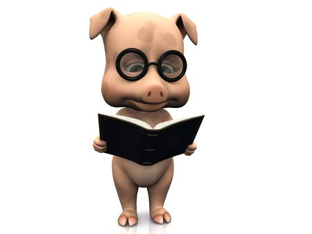 A cute cartoon pig wearing glasses reading a book that he is holding in his hands. White background.