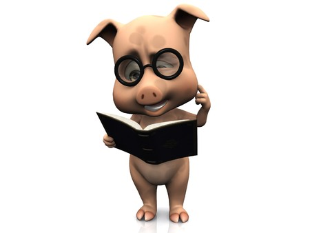 storytime: A cute cartoon pig wearing glasses reading a book that he is holding in his hands and looking very confused. White background.