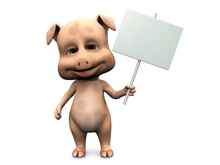 A cute pig holding a blank sign in its hand. White background. Stock Photo