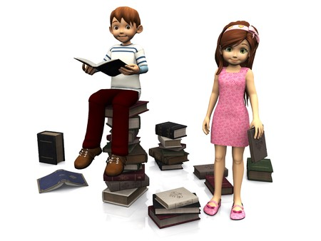 scattered on white background: A cartoon boy sitting on a pile of books and holding a book. A cute cartoon girl in pink dress standing holding a book. Several books are scattered on the floor around them. White background. Stock Photo