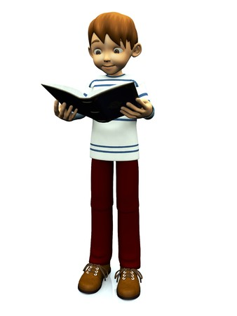 storytime: A cute cartoon boy reading a book he is holding in his hands. White background.