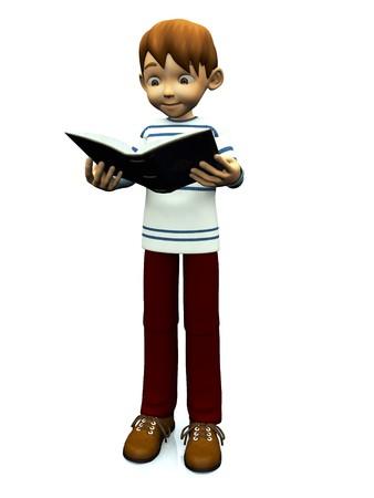 Un chico lindo de dibujos animados, leyendo un libro sostiene en sus manos. Fondo blanco. Foto de archivo - 6968976