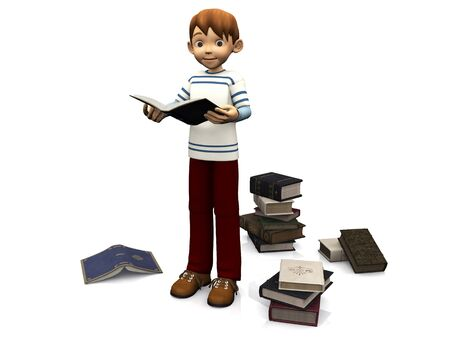 storytime: A cute cartoon boy holding a book. Several books are scattered on the floor around him. White background. Stock Photo