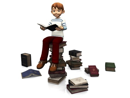 A cute cartoon boy sitting on a pile of books and holding a book. Several books are scattered on the floor around him. White background.