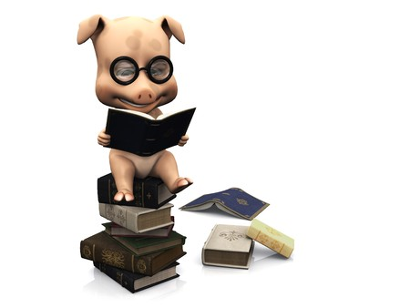 A cute cartoon pig wearing glasses sitting on a pile of books and reading. A couple of books are scattered on the floor. White background.