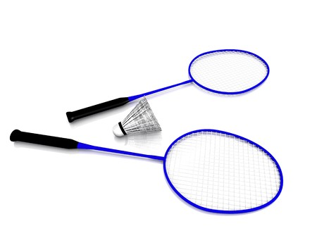 Two blue badminton rackets and a shuttlecock on white background. Stock Photo