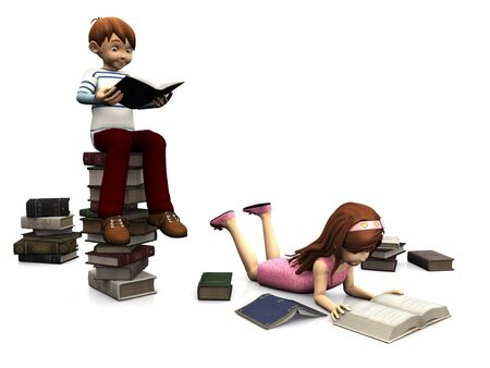 storytime: A cartoon boy sitting on a pile of books and holding a book. A cute cartoon girl in pink dress lying on the floor and reading a book. Several books are scattered on the floor around them. White background.