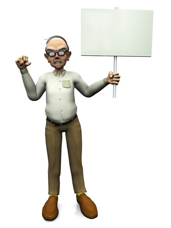 An old angry man holding a blank sign in his hand. White background.