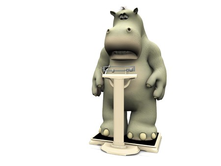 A cartoon hippo looking disappointed when weighing himself on a floor scale. White background.