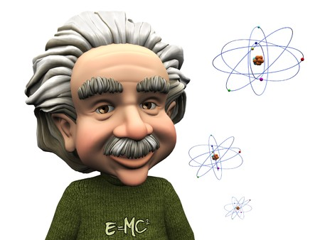 A smiling cartoon Einstein with atoms beside him. White background.