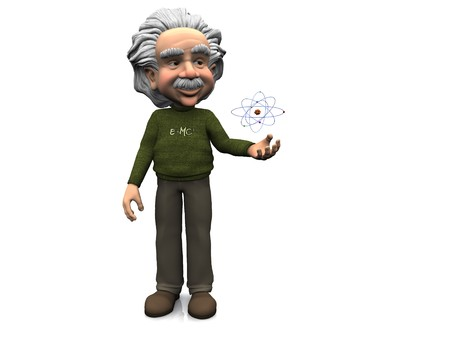 A smiling cartoon Einstein standing with an atom hovering over his hand. White 