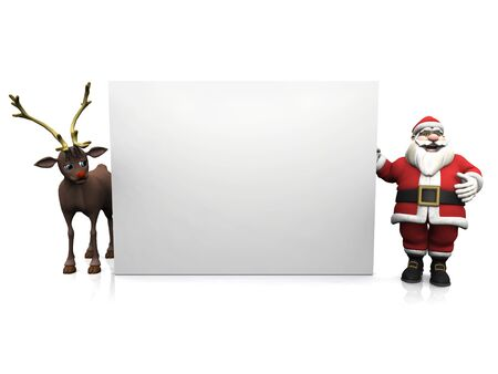 A smiling cartoon Santa Claus standing beside a big blank sign. On the other side of the sign is Rudolph the reindeer. White background. photo