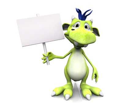 A cute friendly cartoon monster holding a blank sign in his hand. The monster is green with blue hair. White background.