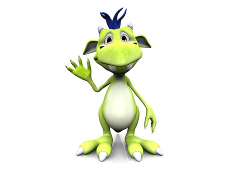 A cute friendly cartoon monster waving his hand. The monster is green with blue hair. White background. Stock Photo - 8682193