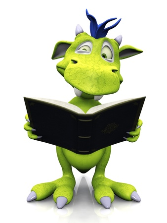 A cute friendly cartoon monster reading a book that he is holding in his hands and looking very confused. The monster is green with blue hair. White background. Stock Photo - 8808460