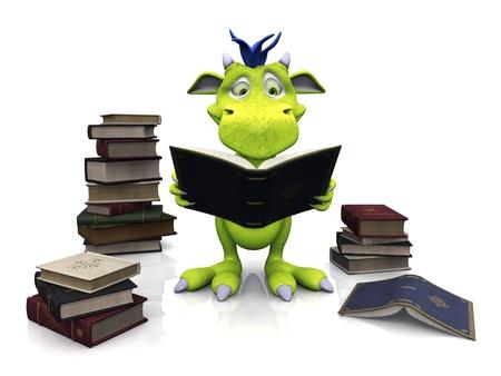 그가 그의 손에 들고 책을 읽고 귀여운 친절 만화 괴물. 여러 권의 책 더미가 주변의 바닥에 있습니다. 괴물은 파란 머리카락으로 녹색입니다. 흰 바탕. 스톡 콘텐츠