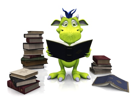 A cute friendly cartoon monster reading a book that he is holding in his hands. Several piles of books are on the floor around him. The monster is green with blue hair. White background.