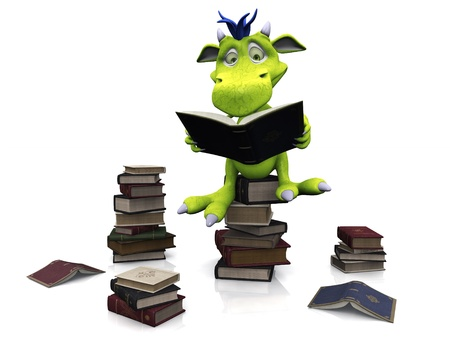 green dragon: A cute friendly cartoon monster sitting on a pile of books and reading a book that he is holding in his hands. Several piles of books are on the floor around him. The monster is green with blue hair. White background.