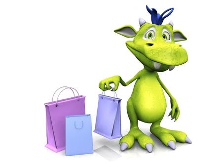 쇼핑 가방을 들고있는 귀여운, 친절한 만화 괴물. 그 옆에 바닥에 2 개의 쇼핑백이 더 있습니다. 괴물은 파란 머리카락으로 녹색입니다. 흰 바탕. 스톡 콘텐츠
