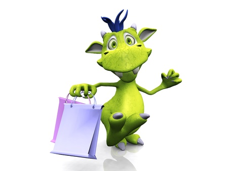 A cute, friendly cartoon monster holding two shopping bags. The monster is green with blue hair. White background. Standard-Bild