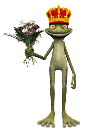 A charming cartoon frog with a prince crown on his head and a bouquet of flowers in his hand. White background.