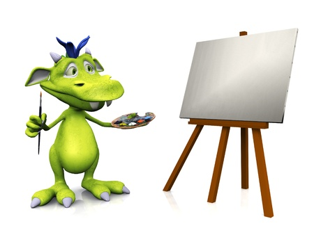 easel: A cute friendly cartoon monster standing in front of a blank canvas on an easel,  holding a brush in one hand and an artist palette in the other. The monster is green with blue hair. White background.