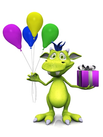 A cute, friendly cartoon monster holding four balloons in one hand and a gift in the other hand. The monster is green with blue hair. White background.