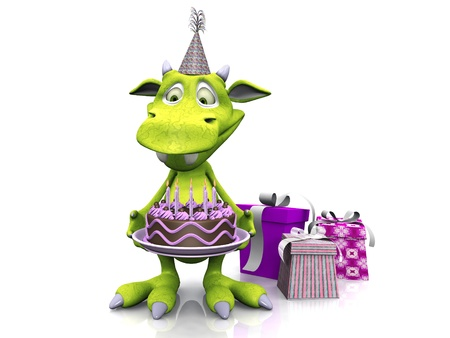 A cute, friendly cartoon monster holding a birthday cake. Three presents are on the floor beside him. The monster is green and wearing a party hat. White background.