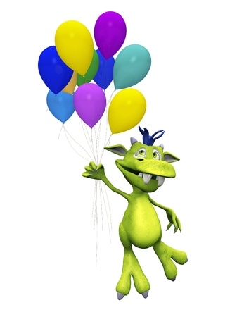 A cute, friendly cartoon monster flying away while holding a bunch of balloons in his hand. The monster is green with blue hair. White background.