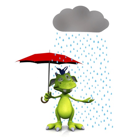 A cute friendly cartoon monster standing under a rain cloud with a red umbrella in his hand. The monster is green with blue hair. White background.