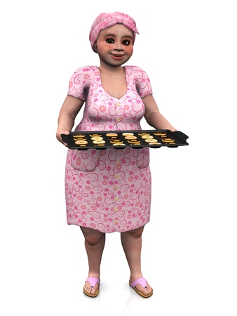 A chubby lady wearing a head scarf holding a baking tray full of donuts. White background.