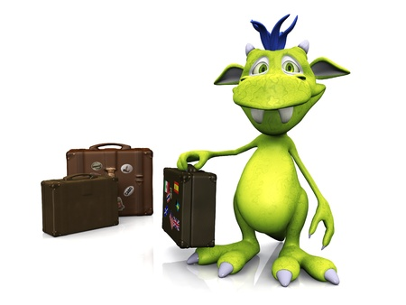 A cute friendly cartoon monster holding a travel suitcase in his hand. Two more suitcases are on the floor beside him. The monster is green with blue hair. White background. Stock Photo