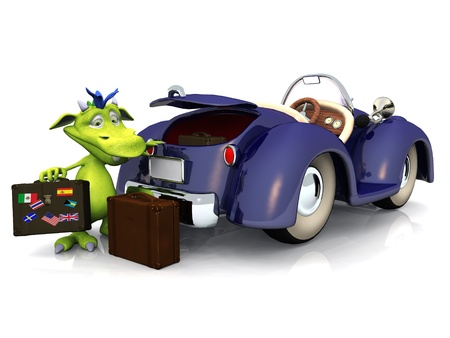 A cute friendly cartoon monster packing his luggage into the trunk of a blue car. The monster is green with blue hair. White background.