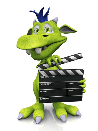A cute smiling cartoon monster holding a film clapboard. The monster is green with blue hair. White background.