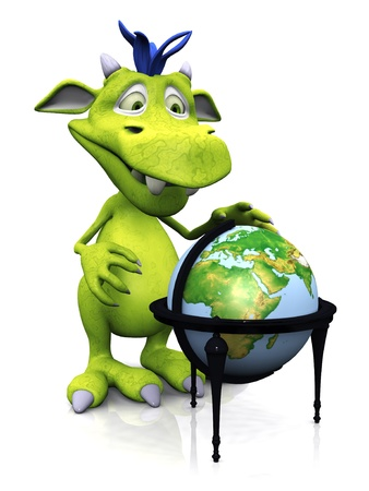 A cute friendly cartoon monster standing in front of a terrestrial globe. The monster is green with blue hair. White background.