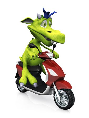 A cute friendly cartoon monster sitting on a red scooter. The monster is green with blue hair. White background. Stock Photo - 8982523