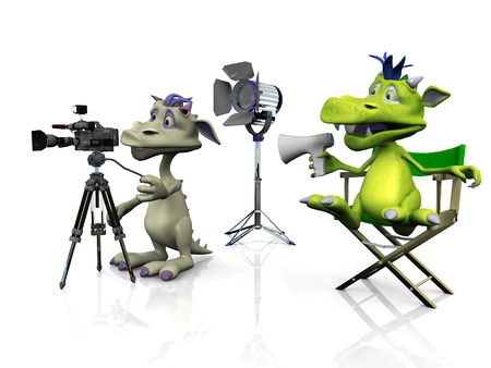 A cartoon monster sitting in a directors chair and another mouse filming. White  background. photo