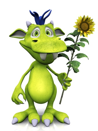 A cute friendly cartoon monster holding a big yellow sunflower in his hand. The monster is green with blue hair. White background. Stock Photo