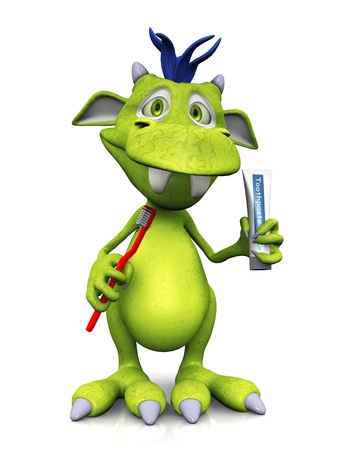 toothbrush: A cute friendly cartoon monster holding a red toothbrush in one hand and a toothpaste in the other hand. The monster is green with blue hair. White background.