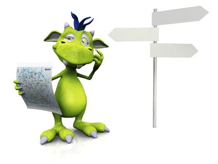 A cute friendly cartoon monster holding a map in his hand. He looks like he is  thinking about something. There is a blank street sign beside him. The monster is green with blue hair. White background.