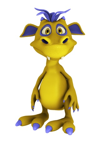 goofy: A cute friendly cartoon monster standing and looking at you. The monster is  yellow with purple hair. Isolated on white background.