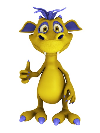 A cute friendly cartoon monster doing a thumbs up. The monster is yellow with purple hair. Isolated on white background. Reklamní fotografie